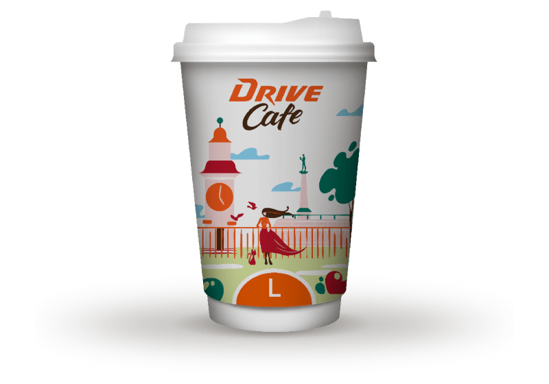 drive cafe coffee l size cup