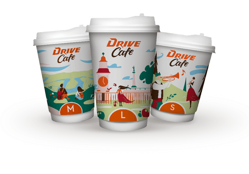 drive cafe coffee cups small medium and large
