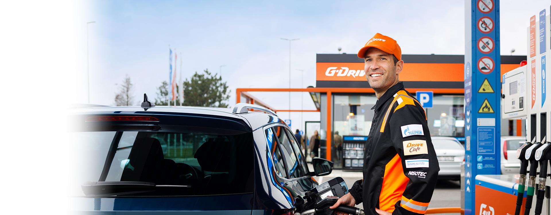 employee at the gazprom petrol station